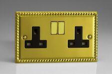 VARILIGHT Classic Georgian Brass 2 Gang 13a Switched Black XG5DB Plug Socket