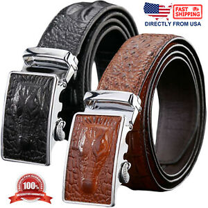 Men's Genuine Leather Alligator Embossed Automatic Buckle Ratchet Belt