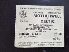 Sammler Used Ticket / Entrada Motherwell v Celtic Glasgow FC 25-08-1990