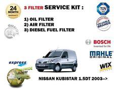 FOR NISSAN KUBISTAR 1.5DT + VAN2003-> SERVICE KIT OIL AIR FUEL ( 3 )  FILTER SET