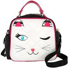 Betsey Johnson LUNCH BOX KITTY CAT WHITE Face Tote Bag Insulated Quilted NEW