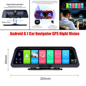 "10"" 1080P Android 8.1 Touch Screen Car Dual Cameras Dash Night Vision GPS Navi"