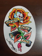 ED HARDY GOLDEN ROSE OF LOVE TATTOO OVAL STICKER NEW