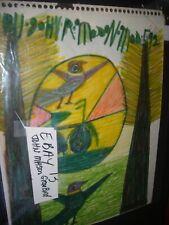John Mason  FOLK ART PAINTING  OUTSIDER VINTAGE  #13  Green Bird
