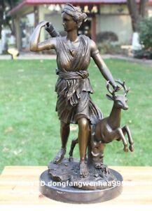 43 cm Western art deco bronze Greek mythology Hunting goddess Diana sculpture