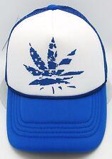 Marijuana Snapback Cap Mesh Trucker Hat USA Blue White Weed 420 Cannabis NWT