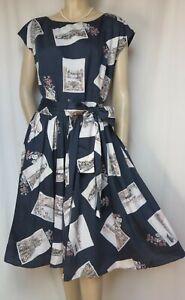 Laura Ashley Sommerkleid 44 Baumwolle blau weiß Blumen Postkarten postcards