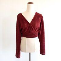 Sportsgirl Size XS Deep Red Pleated Long Sleeve Wrap Crop Top Women's