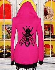 Betsey Johnson VINTAGE Sweater BEE FLY BUG Pink ZIP HOODIE Jacket Coat S 2 4 6