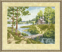 Counted cross stitch kit Chapel By The Riverbank Village Forest by Golden Fleece