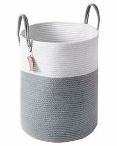 Cotton Rope Laundry Hamper 58L Woven Collapsible Laundry Basket Clothes Storage