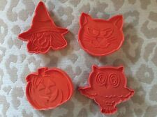 Four (4) Vintage Hallmark Halloween Cookie Cutters Pumpkin Witch Owl Cat Spooky
