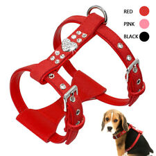 Suede Leather Dog Harness Soft Padded Vest for Small Medium Dogs Black Pink Red