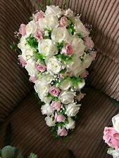 Wedding Flowers Bride's Shower Bouquet Ivory  & Pink with Gyp £42.99