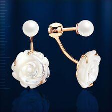 Russische Ohrstecker Ohrringe mit Perlmutt und Perlen Rose Rotgold 585 SCHOEN!!!