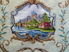 Antique Needlepoint Vtg Petit Point Handmade Tapestry Panel 24 x 24""
