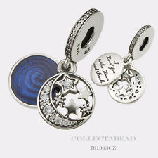 Authentic Pandora Silver Vintage Night Sky Blue Enamel & CZ Dangle Bead 791993CZ