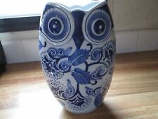 Beautiful Pottery Blue & White Delft Style Owl Vase ~MINT~