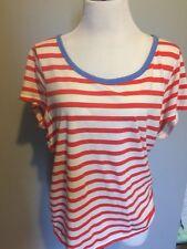 GAP Scoop Neck Short Sleeve Red & white Striped Top Nautical Sz L Modal cotton