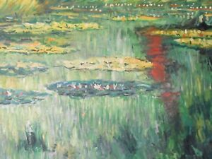 Claude Monet classic water lilies large oil painting canvas reproduction flowers