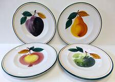Crate & Barrel Fruit Salad Dessert Plates 4 NIB Wooden Hand-painted Italy