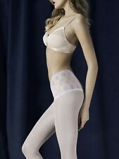 Pearl white lace tights Fiore 40 den silver thread lace briefs bridal pantyhose