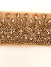 Indian Gold Zari Tissé CRISTAUX /& PERLES travail de découpe cercles dentelle//Trim-Vendu par Mètre