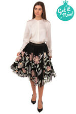 RRP €505 CABAN ROMANTIC Tulle Skirt Size IT 42 S Leather Floral Patches Layered