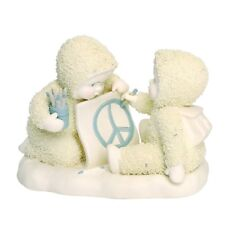 Dept 56 SNOWBABIES Figurine PEACE TALKS Porcelain Snow Baby CRAYON DRAWING SIGN