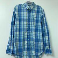 Vineyard Vines Slim Fit Whale Shirt Men's Green Blue Plaid Button Down Sz Medium
