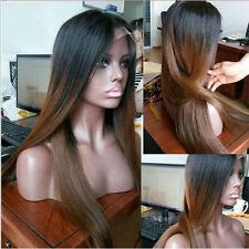 """24"""" Straight Dark Brown With Long Black Roots Lace Front Wig Heat Resistant"""