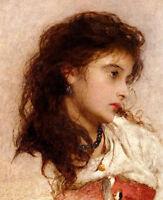 Stunning Oil painting Edward John Poynter - Young girl portrait
