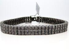 Brand New Mens 3 Row Black On Black Diamond Bracelet Bangle 2Ct