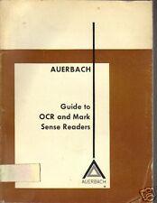 Auerbach Guide Vintage OCR and Mark Sense Readers 1974 XLib Rare