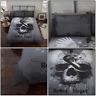 Grey Multi Dark Rebel Heart Snake Skull Gothic Duvet Quilt Cover Set Bedding Set