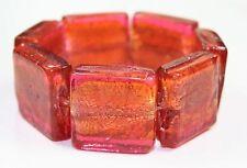 SUNSET pink orange CHUNKY murano FOIL GLASS BRACELET