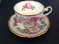 ROYAL STANDARD BONE CHINA ENGLAND CUP & SAUCER IRISH ELEGANCE PINK & WHITE ROSE