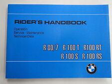 BMW R80/7 R100T R100 R100/7 R100S R100RS Owners Manual Handbook