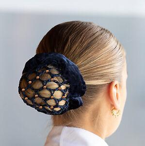 Equetech Dressage Rose Gold Crystal Bun Hair Net - Black, Navy NEW 2021!
