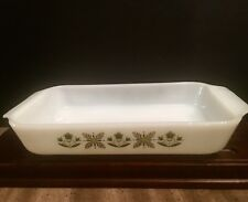 Fire King Anchor Hocking Green Meadows Glass Ovenware Baking 1 1/2 QT #432 Dish