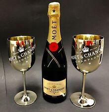 Moet Chandon Impérial Champagner 0,75l Flasche 12% Vol + 2 Gold Acryl Gläser