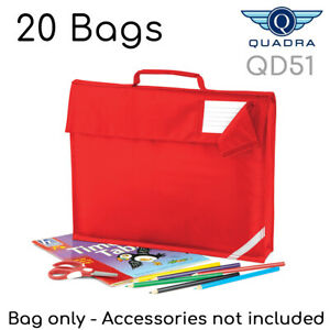 20 x Quadra School Bag Bookbag QD51 Book Bags in Bright Red Joblot / Wholesale.