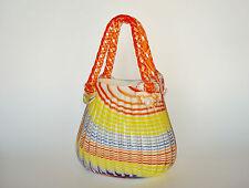 Murano ART GLASS Candy Cane Striped Purse Basket Vase Hand Blown Ground Pontil