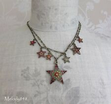 Danés peregrino Multi collar encanto estrella vintage oro Rojo Swarovski BNWT
