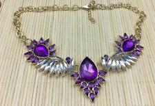 Fashion Necklace Acrylic Purple & Clear Spikey Rhinestone Goldtone Statement