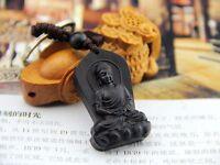 Black Wood Carving Chinese Shakyamuni Amitabha Buddha Feng Shui Statue Key Chain