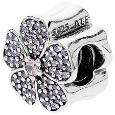 Authentic Pandora Silver Sparkling Primrose Pink Purple Charm 791481PCZ