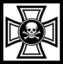 5x Black Iron Cross Sticker Eisernes Kreuz Aufkleber Deutschland Totenkopf Skull