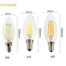 Dimmable Edison LED Candle Filament Light E14 2W 4W 6W Bulb Cool Warm White Lamp