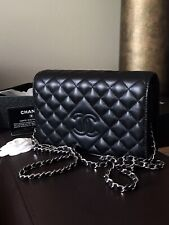 CHANEL Single Flap Bag 💎 Diamond CC💎 XL WOC Tasche Kette schwarz full Set NEU!